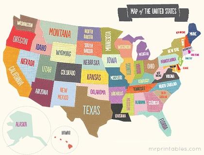 Printable Map of the USA via Mr Printables