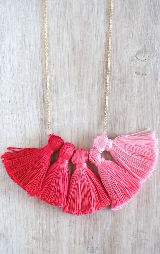 DIY Ombre Tassel Necklace via Oh the Lovely Things