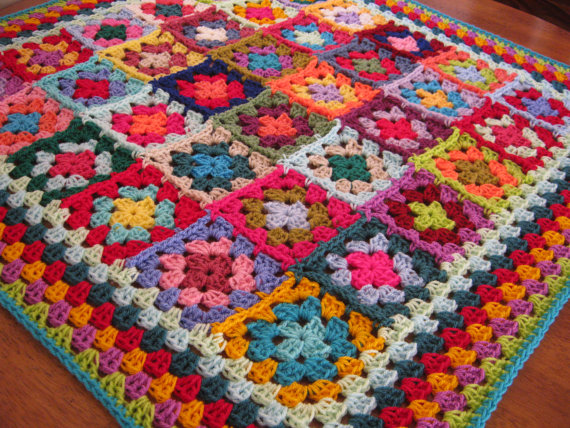 Handmade Crochet Granny Square Blanket by Thesunroomuk, $111.59