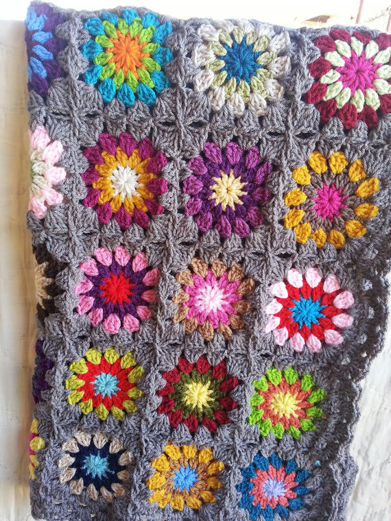Flower Granny Square Blanket by MaybeLemon, $225