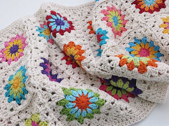 Afghan Granny Square Throw by TheMagicCorner, $85