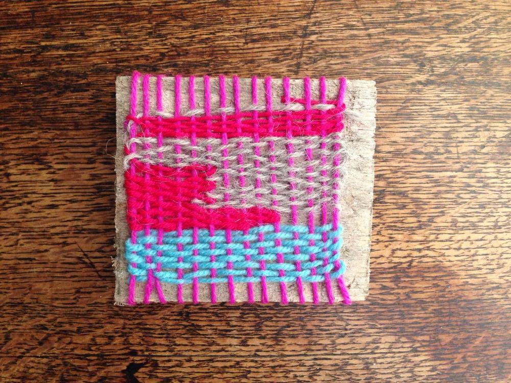 weaving on wood