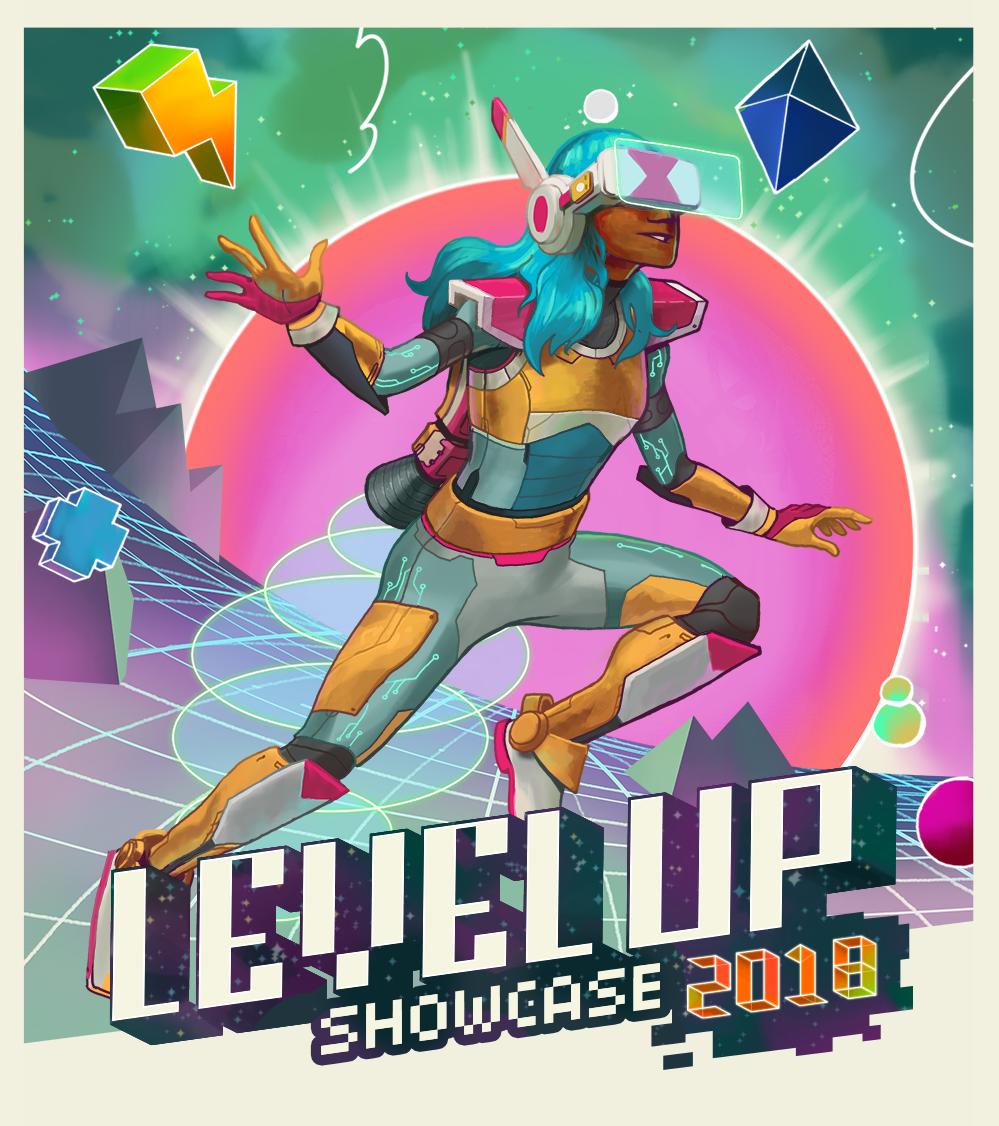 Illustration & Branding for Level Up Student Games Showcase 2018.