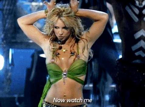 "2001 : Performing ""I'm a slave 4 U""."