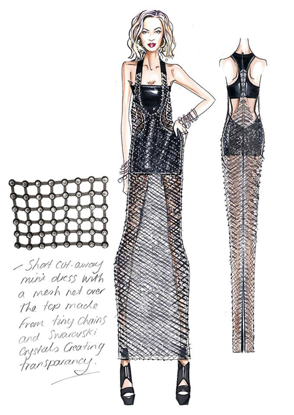 The chainmail style dress was decked out with Swarovski Crystals.