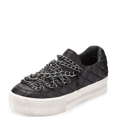 ASH / $200 / Chains add edge to quilted leather sneakers!