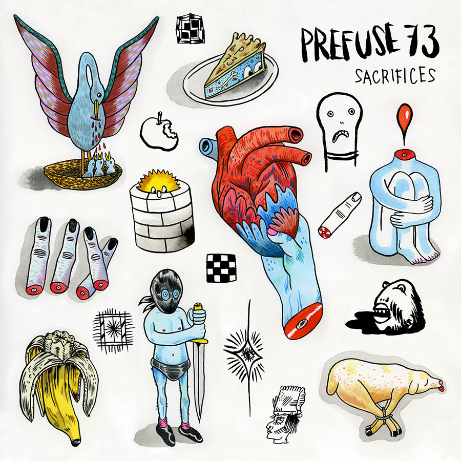 NEW PREFUSE 73: - Prefuse 73, the beat-making moniker for the innovative and prolific producer Guillermo S. Herren, has announced his first solo album in three years, Sacrifices, is set for release on May 26 via Lex Records. Following a detour into fractured, kaleidoscopic hip-hop on recent releases, Herren has become increasingly interested in injecting a sense of space into his characteristically complex productions. The resultant 17-track collection is akin to watching an old photograph deteriorate in one's hands, as otherwise dense beats dissipate into airy expanses of emotionally resonant electronics. Its effect is not unlike attempting to recall a murky memory of a dream of Herren's earliest works, imbibed with an increased interest in the subtlety of modern minimalism.Artwork: John Herndon // @agrapedope & Tortoise.