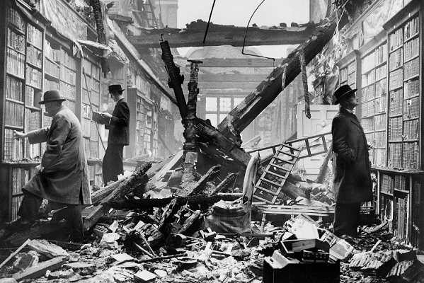 Holland House library in London after an air raid, 1940 © English Heritage