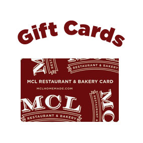 Gift a lunch, gift a dinner,  gift a clean kitchen!  MCL gift cards make great hostess, birthday and thank you gifts! In fact, they're perfect for anyone who enjoys a good meal.   Click here  to order online and we'll ship your gift card anywhere in the United States or visit your local MCL store to get one from the cashier.