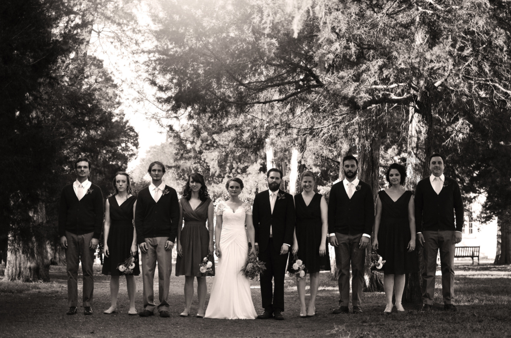 The Wedding Party posing for a very classic and beautiful photo in front of The Hermitage Mansion.