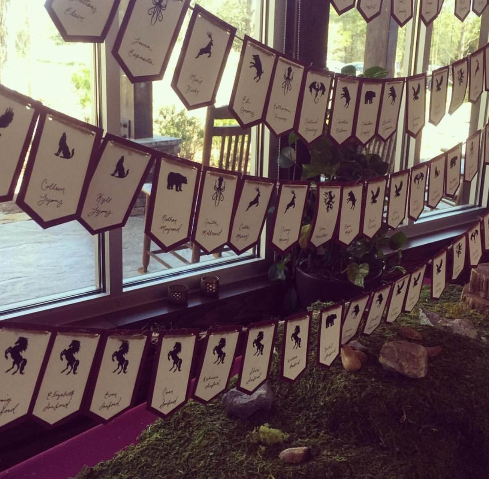 "Escort Cards- We had table ""animals"" rather than table numbers. Our guests loved finding out which animal they were going to be at for the night!"