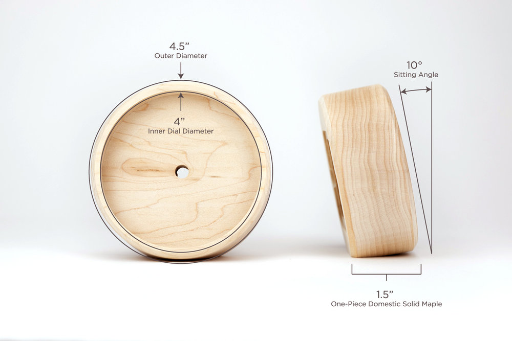 THE ANGLE - –PRECISE 10° ANGLE–Though it's round, our Desk Clock doesn't roll. On the bottom of the maple body, there's a precise 10 degree angle carved into the wood. The Desk Clock sits perfectly flat and facing up at you every time.