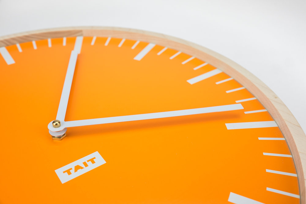 THE HANDS - –CUSTOM STAMPED ALUMINUM–No detail is overlooked on our Wall Clocks. The hands are custom stamped for us from 100% American-made aluminum, and painted white to match. They are lightweight which aids in their timekeeping abilities and and hand applied to each Wall Clock one at a time.