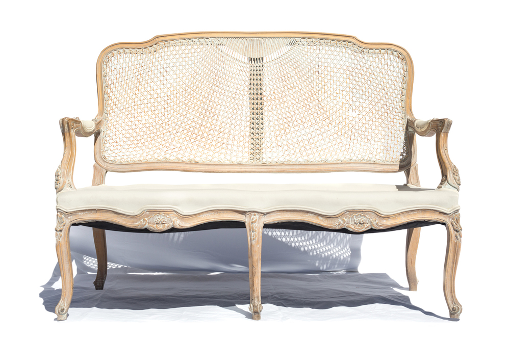 White Cane-Back Settee