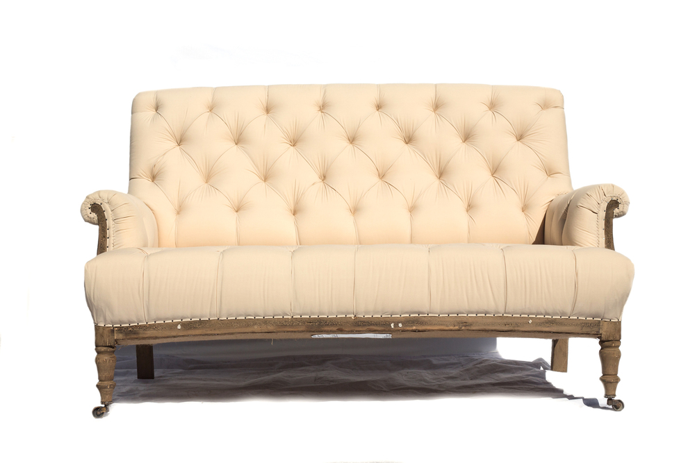 Ivory Tufted Settee