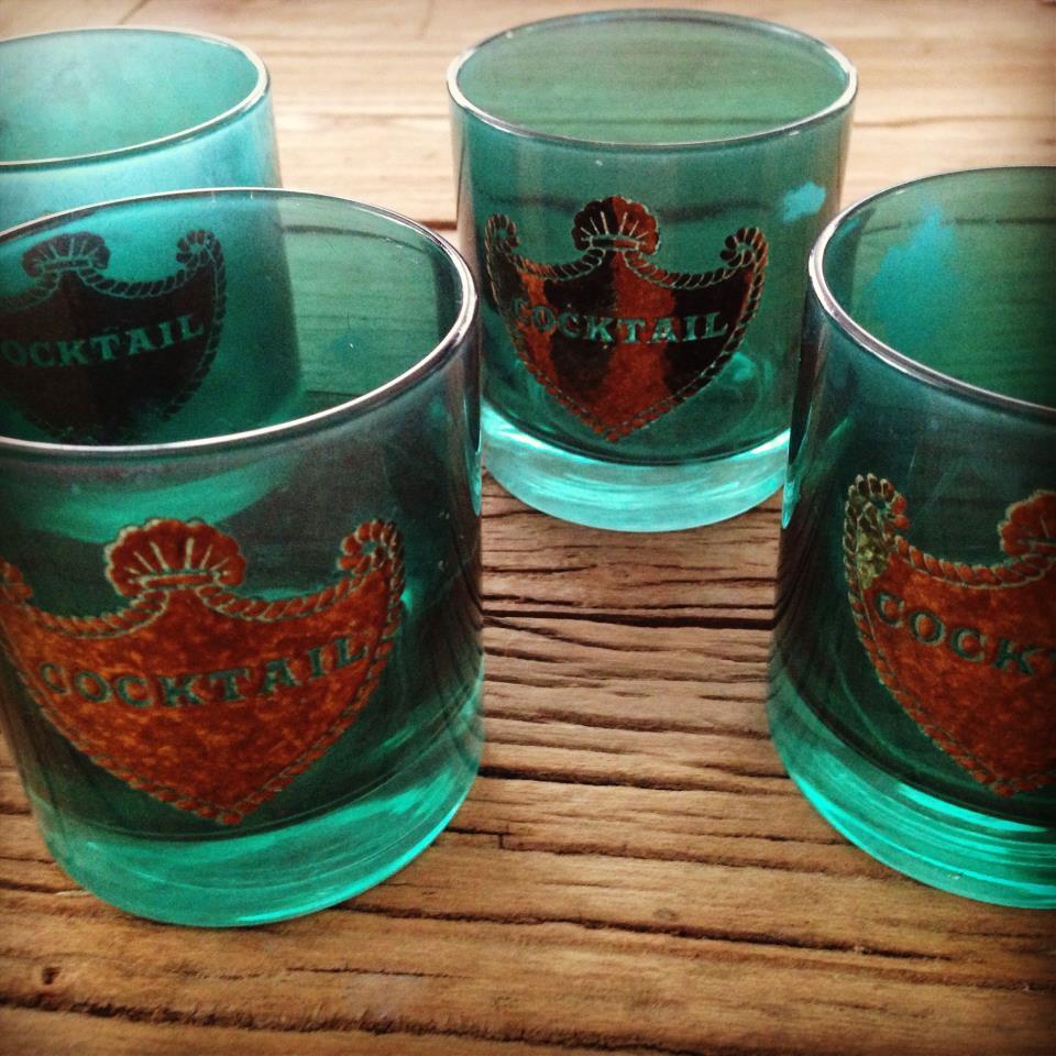 Emerald Green Vintage Cocktail Glasses