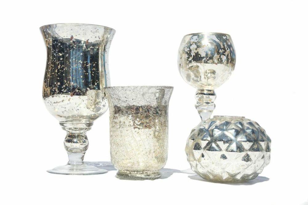 Assorted Mercury Glass Vessels