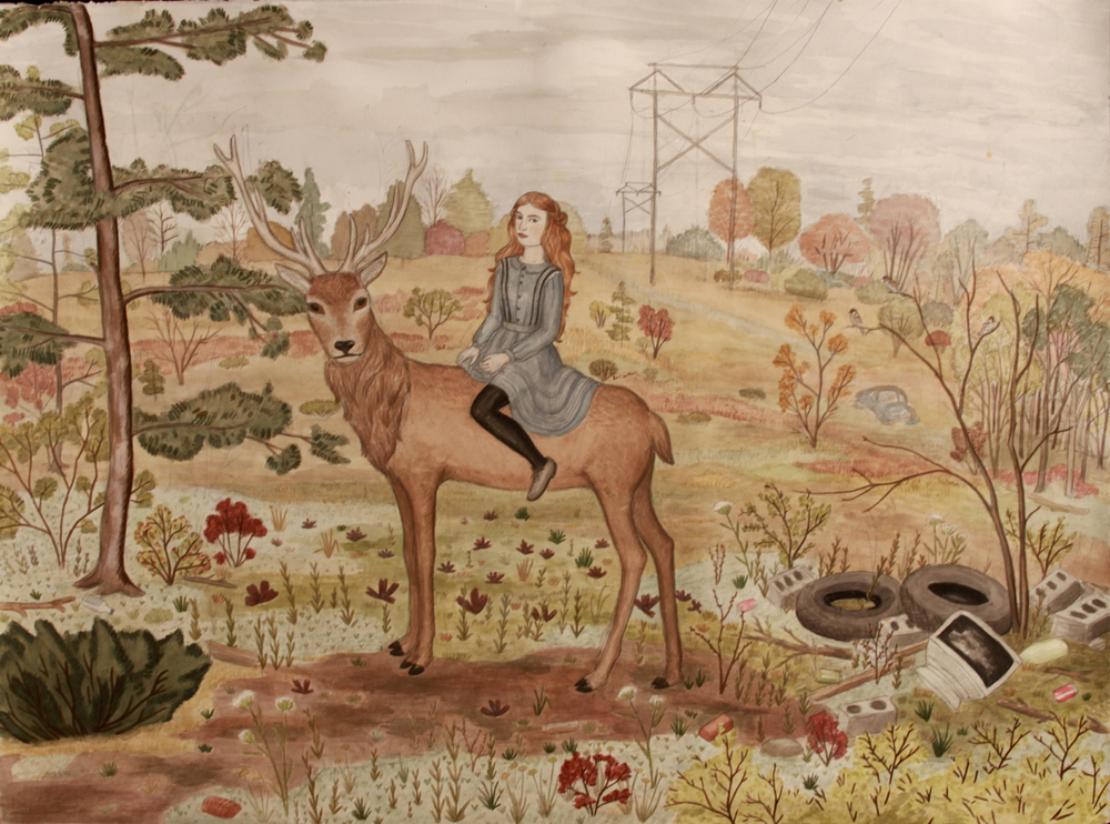 Woman riding elk, Pearl Beerhorst, 22x30, 2013 (in the collection of Tim Bosworth)