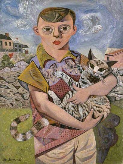 Sick Boy with a Cat, John Brown