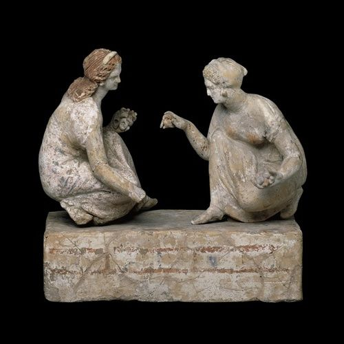 Girls playing knucklebones, Etruscan