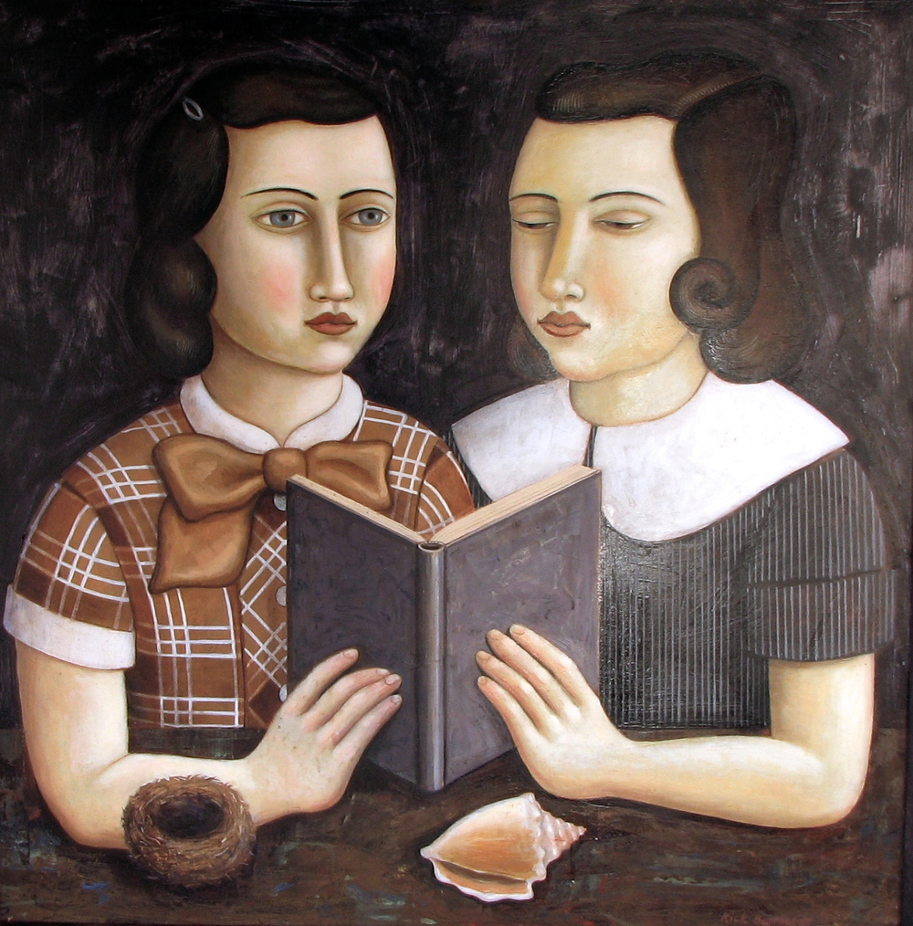 """Girls Share a Book with Nest and Shell, 30""""x30"""", oil on wood panel, 2014"""