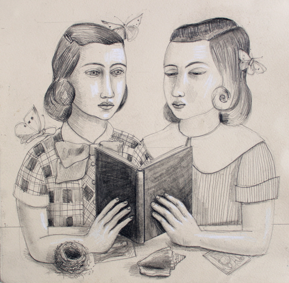 Girls sharing a book drawing, Rick Beerhorst
