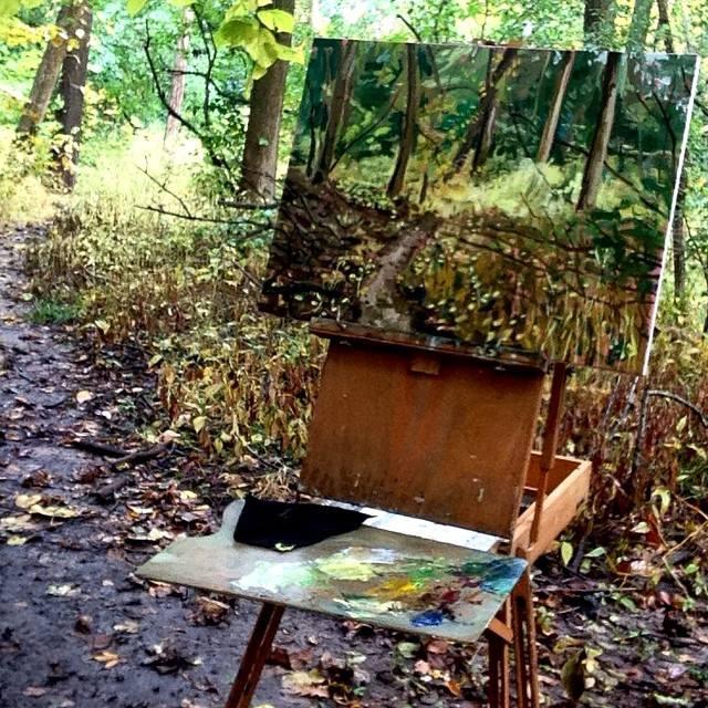 painting in the woods, photo snapped with my little iPod yesterday
