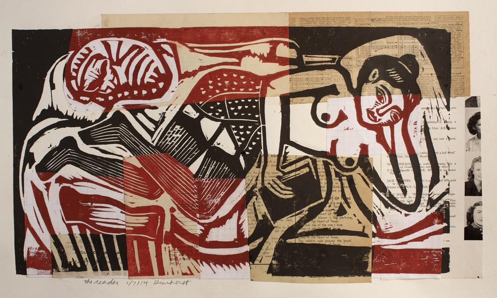 Reclining Figure, woodblock print over collage of different papers and ephemera, 2013, Beerhorst