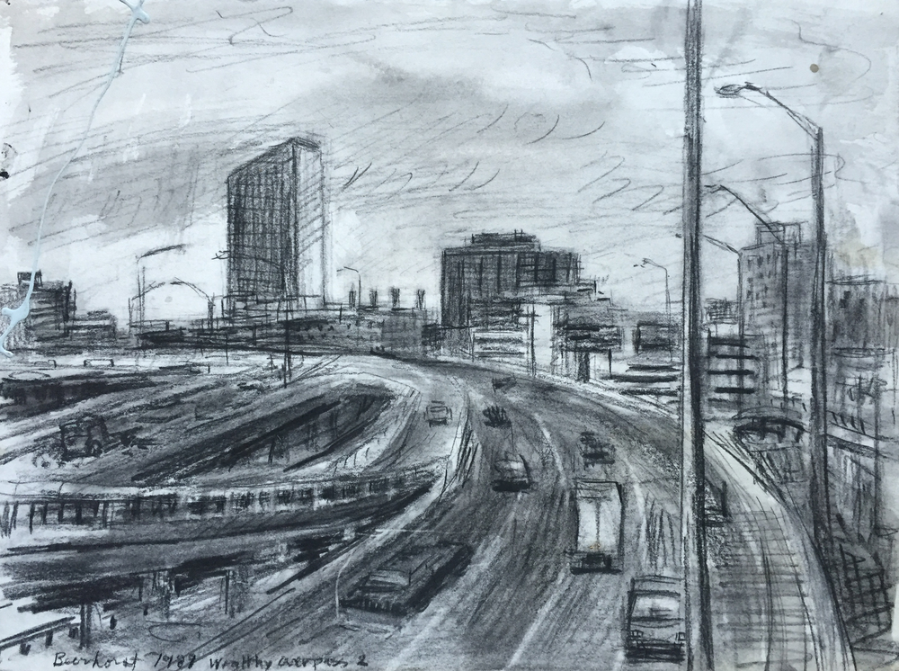 """S Curve by RickBeerhorst, Charcoal, 1989, 18""""x22"""""""