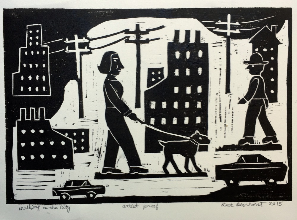 Walking in the City woodblock print available  here