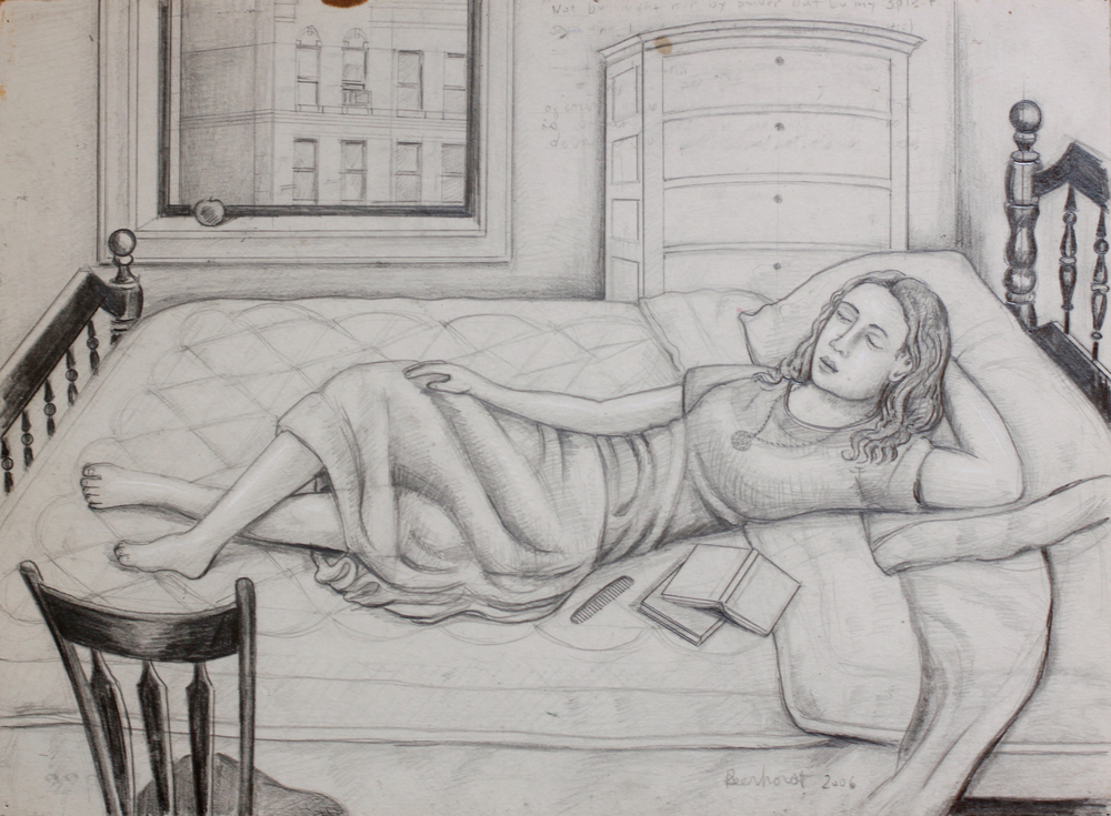 Girl laying on Her Bed with a Book and Comb