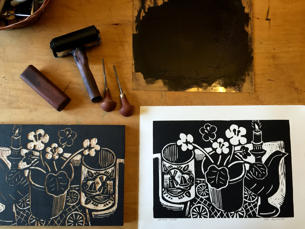 Printing the woodblock print  African Violet