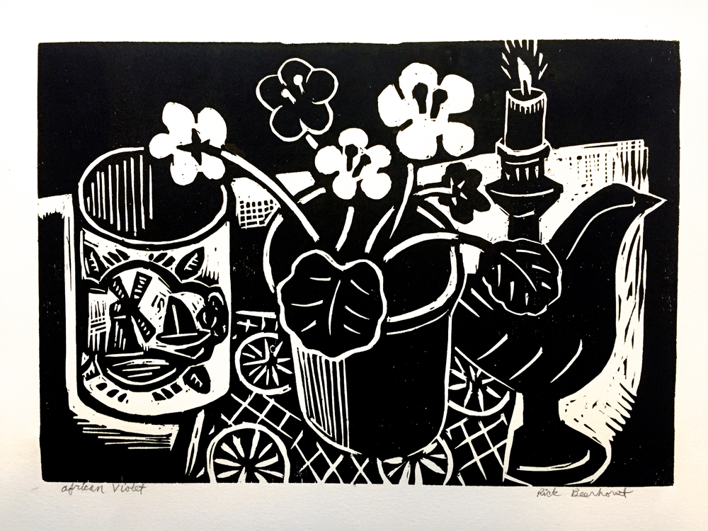 "African Violet, Woodblock print, 11"" x 15"", 2016  (available here)"