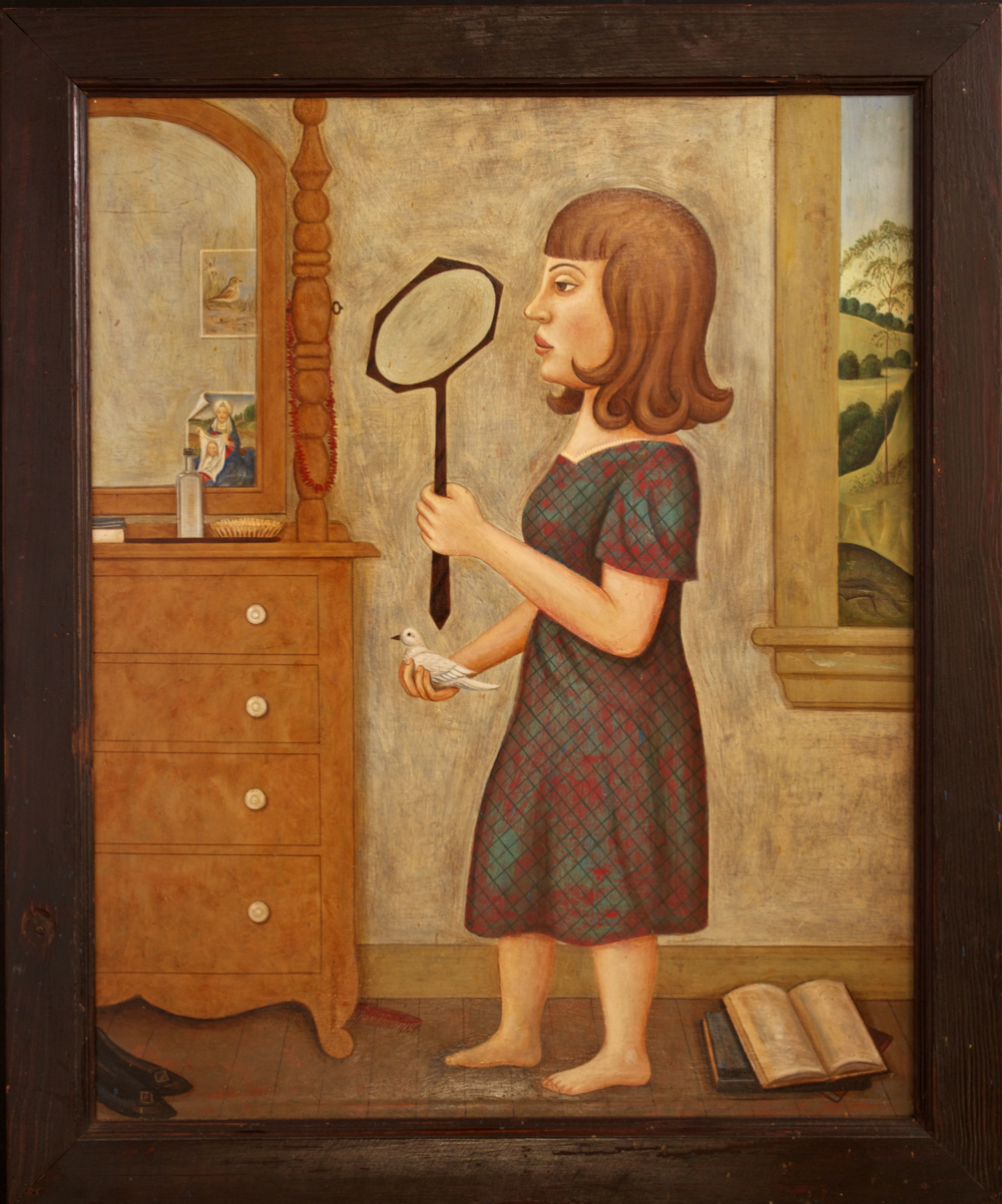Woman with Mirror & Bird (SOLD)