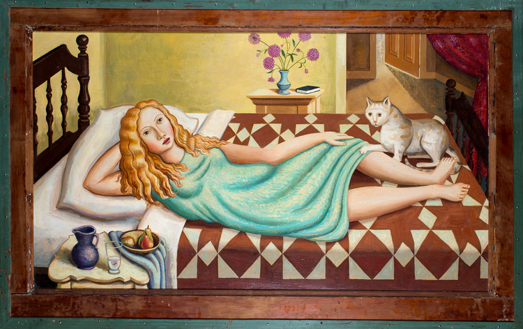 Girl on Bed with Cat (SOLD)