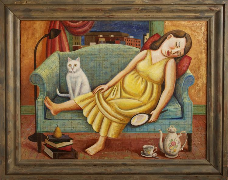 Girl on Sofa with Cat
