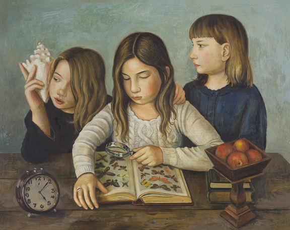 Girls with Butterfly Book (SOLD)