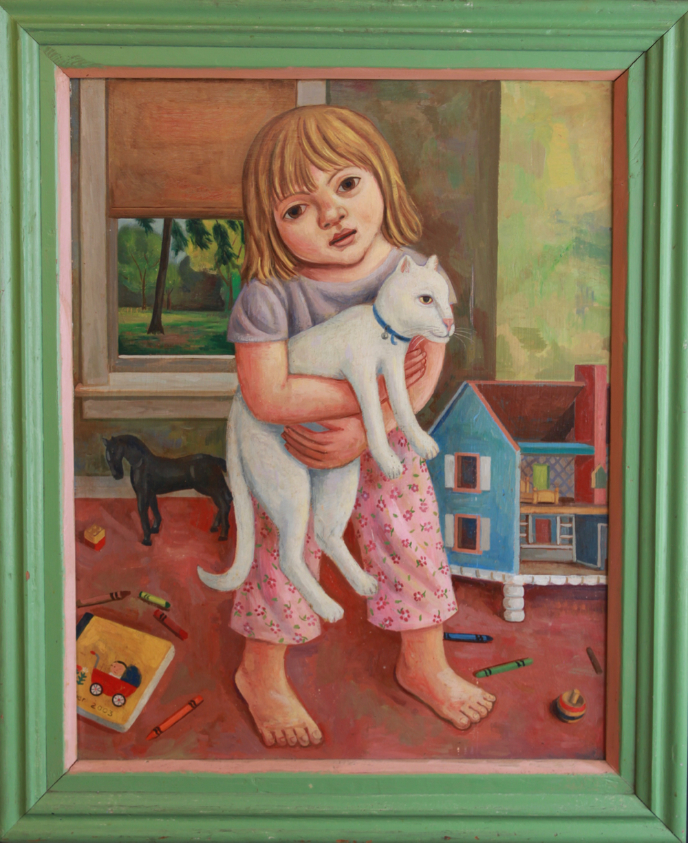 Girl with Cat and Dollhouse