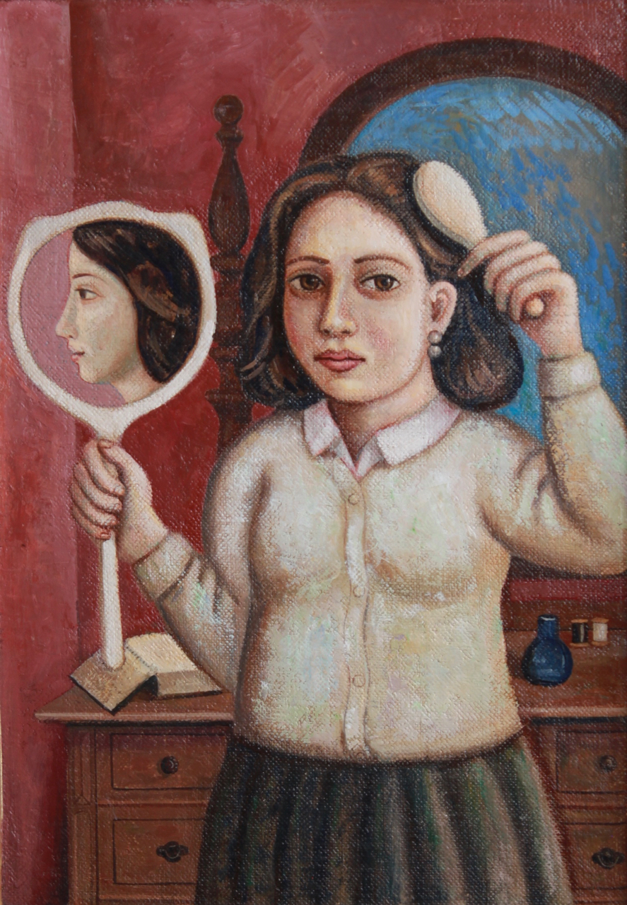 Girl Brushing Hair with Mirror