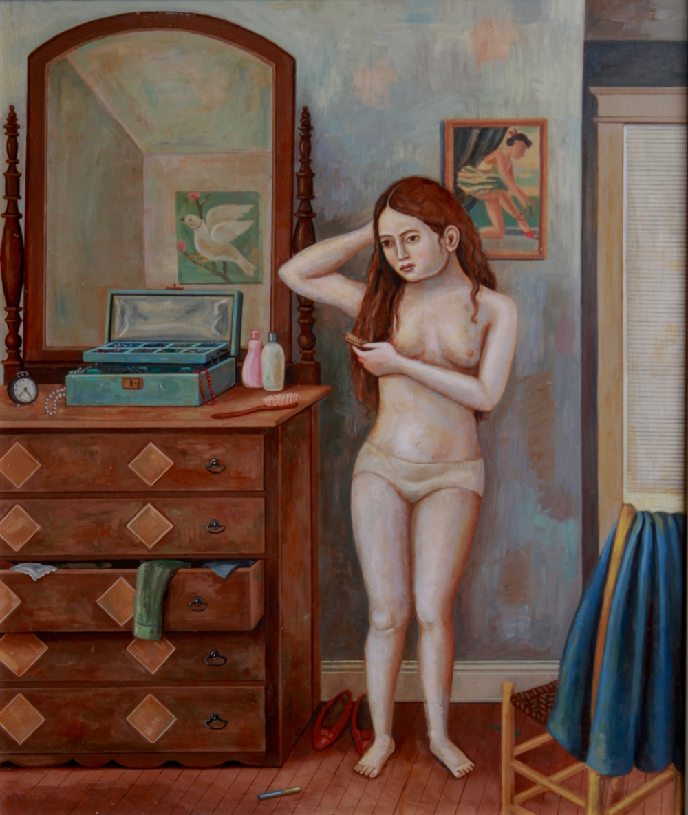 Girl Brushing Hair by Chest of Drawers