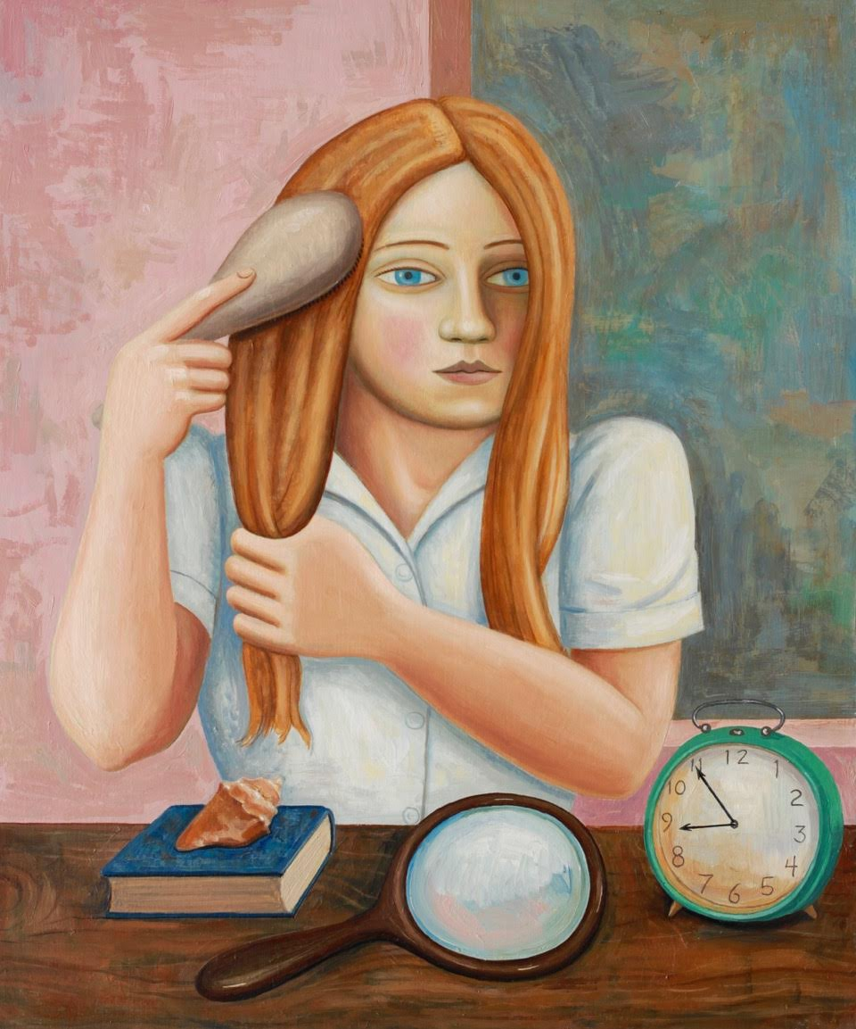 Girl Brushing Hair with Clock and Mirror