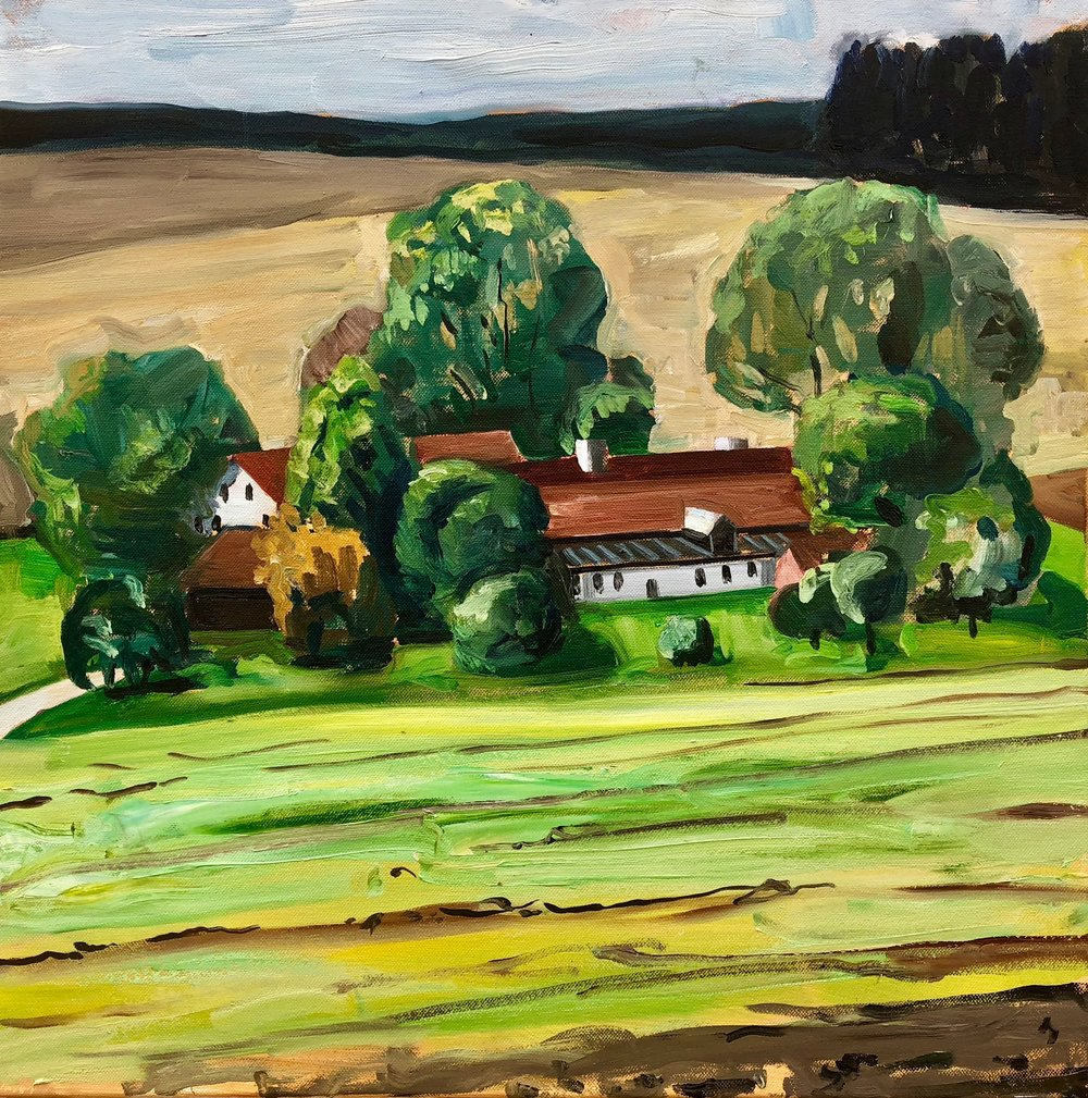 Farm of Vilsheim Bavaria #2, 40x40cm, oil on linen, 2018