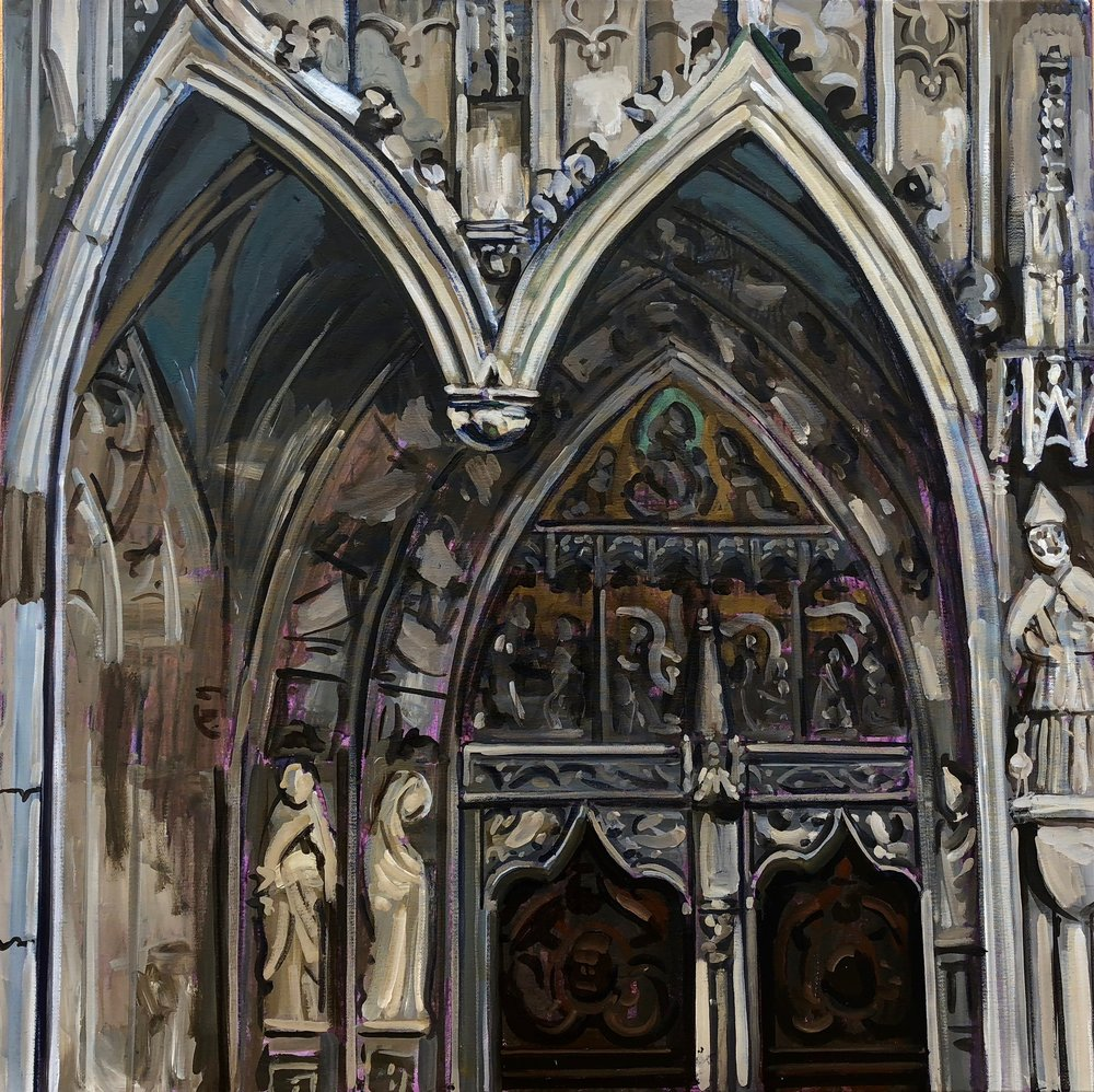 Entrance to St Martin's Church Landshut Bavaria #1, 100x100cm, oil on linen, 2018