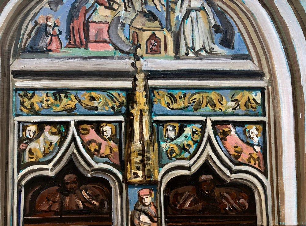 Tympanum St Martin's Church Landshut Bavaria, 60x40 cm, oil on linen, 2018