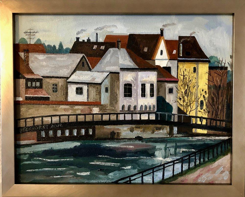 Rick Beerhorst Painting Landshut Isar River Bridge.jpg