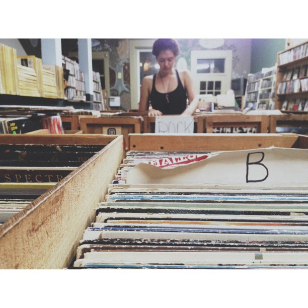 Thumbing thru vinyl with Jac, Jo & Bill. (Taken with Instagram at Another Part Of The Forest)
