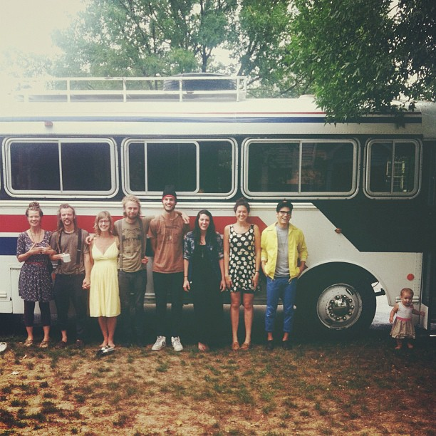 """My parents really wanted to take a picture of us in front of the bus. Cedar got all """"miss independent"""" on us. (Taken with Instagram)"""