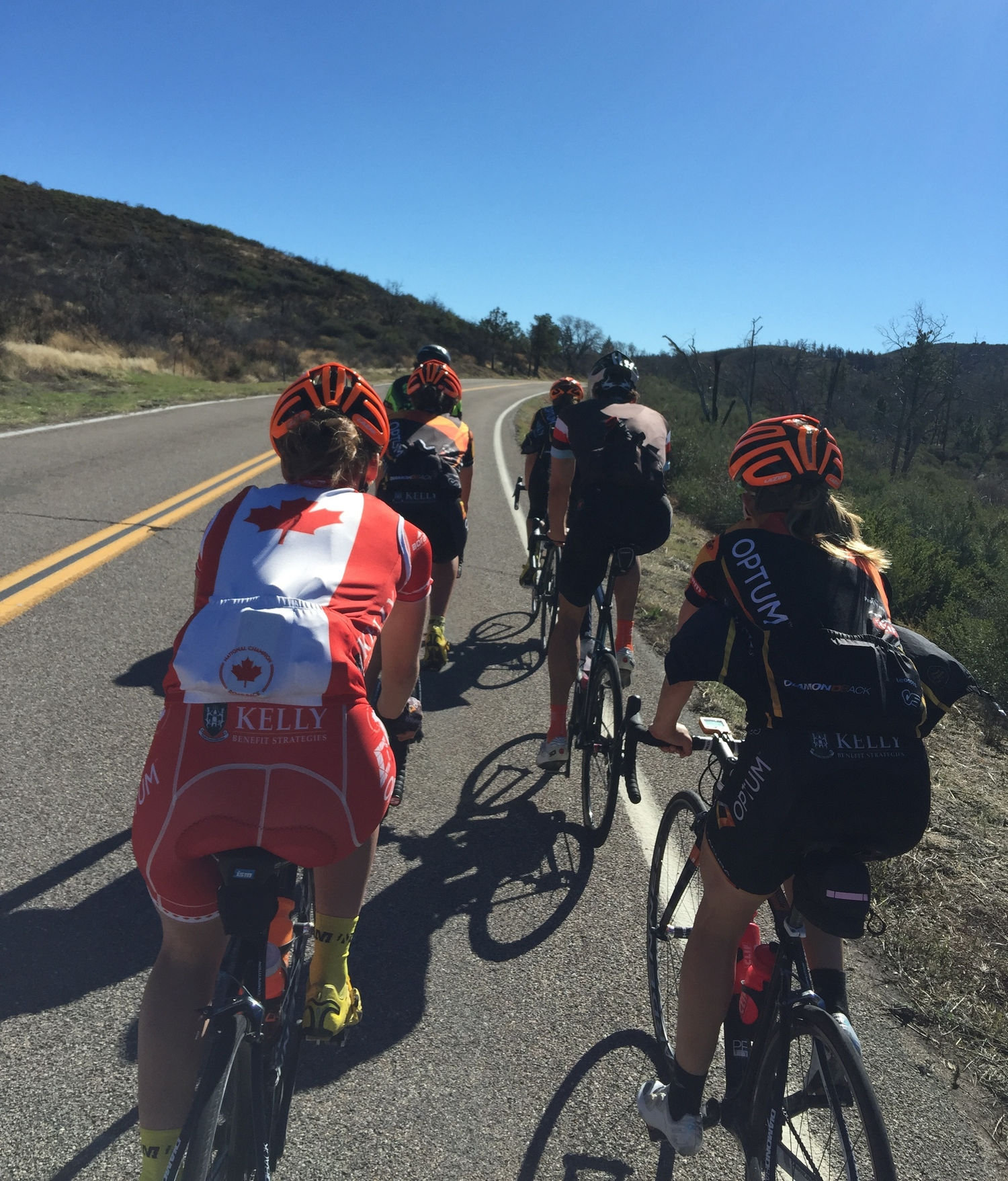 Riding Sunrise Highway with some of the women of Optum Pro Cycling during the Over the Top Cycling Camp last December.