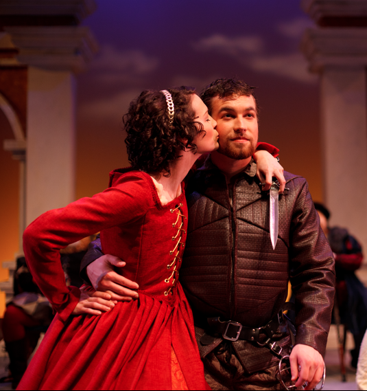 Kate and Petruchio   The Taming of the Shrew  George Fox University  Gown and Jacket designed and made by Allison Dawe