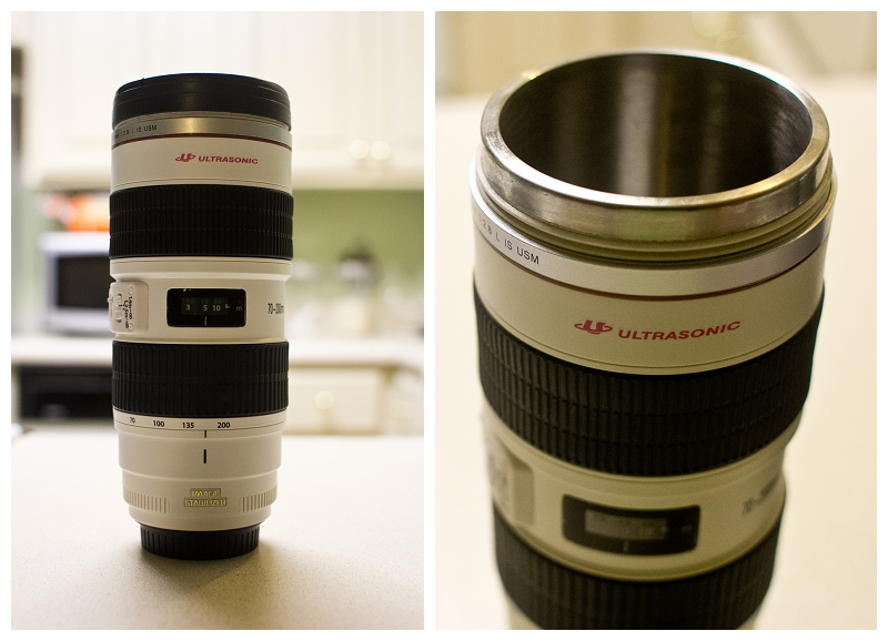 I told     Kris     that I wanted a new coffee mug. She got a little creative and bought a coffee mug that looks like a Canon 70-200mm lens. I love it! :)    Now if we can get the actual 70-200mm we'll be alright.  Thanks, Kris!
